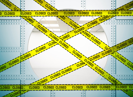 repairs: Bank vault background with yellow tape with the inscription - closed. Protection crime scene, repairs concept. 3D Rendering