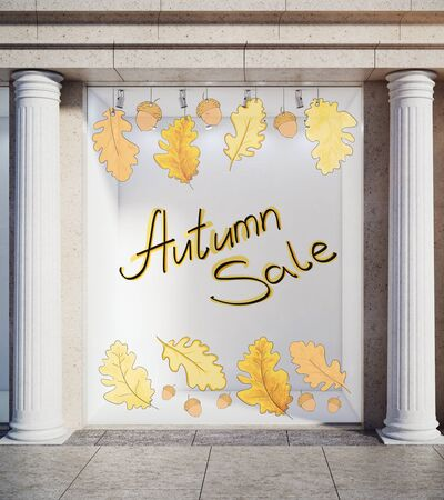 Storefront, window display, glass showcase exterior with concrete columns and creative autumn leaves, fall foliage sale sketch drawing in daylight. Market concept. 3D Rendering