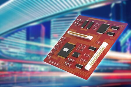 Side view of red motherboard on blurry city background. Technology, circuit, equipment, processor concept. 3D Rendering Stock Photo