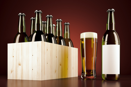 case: Wooden box with bottles beers. Drink ad concept. 3D Rendering