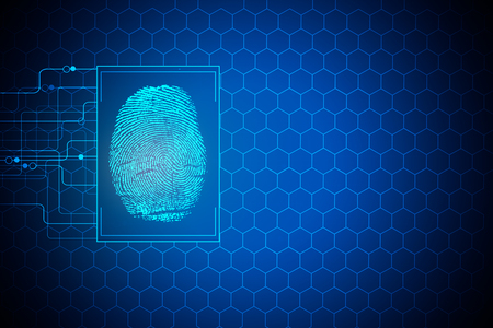 Digital finger print on blue background with cells and copy space. Biometrics concept. 3D Rendering