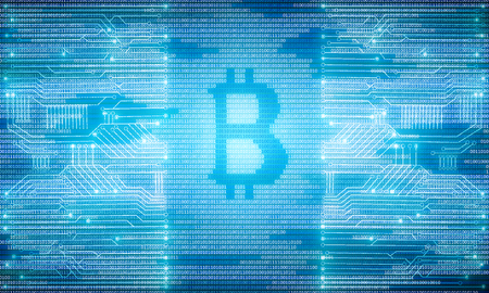 electronic commerce: Bright glowing blue circuit bitcoin background. Technology and cryptocurrency concept. 3D Rendering