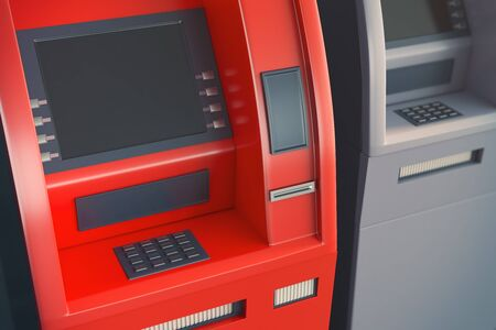 security monitor: Close up of red ATM machine with blank screen. Monetary operation concept. Mock up, 3D Rendering
