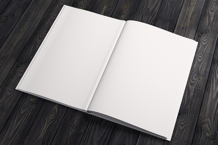 Clean white note paper, copybook, diary, organizer on wooden desktop. Advertisement, supplies, education, text, copy space concept. Mock up, 3D Rendering