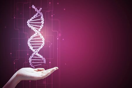 Hand holding abstract pink DNA molecule background. Medicine, innovation and future concept. 3D Rendering