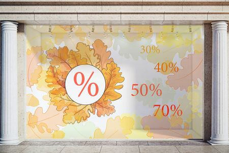 Storefront, window display, glass showcase exterior with concrete columns and creative autumn leaves, fall foliage sale sketch drawing in daylight. Marketing concept. 3D Rendering