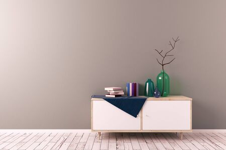 contemporary living room: Creative scandinavian style living room with cupboard and copy space on wall. Decor concept. Mock up, 3D Rendering Stock Photo
