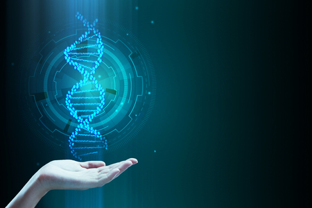 Hand holding abstract blue DNA molecule background. Medicine, innovation and future concept. 3D Rendering Stock Photo