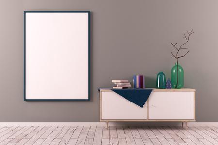 食器棚と壁に空のポスターと創造的なスカンジナビア スタイルのリビング ルーム。インテリアのコンセプト。モックアップ、3 D レンダリング