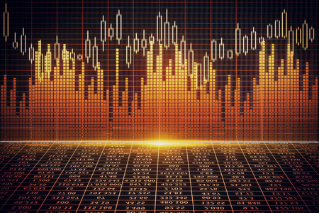 Creative bright forex wall background. Market, stock, fund management and economy concept. 3D Rendering Stock Photo