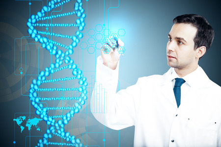 Young male doctor drawing abstract tech blue DNA. Medicine and innovation concept. 3D Rendering photo
