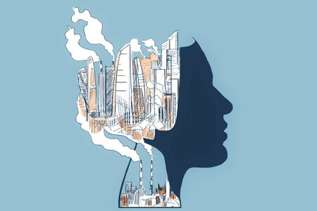 Abstract head outline with drawn city and smoke on blue background. Environment concept