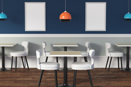 contemporary cafe interior with tables chairs lamps and empty poster advert concept - Contemporary Cafe Interior
