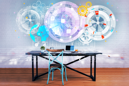 Workplace with creative business globe hologram. Technology and global business concept. Double exposure