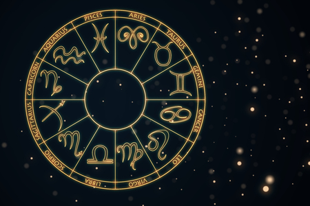 Zodial sign horoscope cirlce on dark background. Creative background. Astrology concept. 3D Rendering