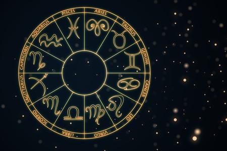 Zodial teken horoscoop cirlce op donkere achtergrond. Creatieve achtergrond. Astrologie concept. 3D-weergave