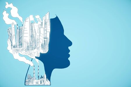 Abstract head outline with drawn city and smoke on blue background. Industry concept