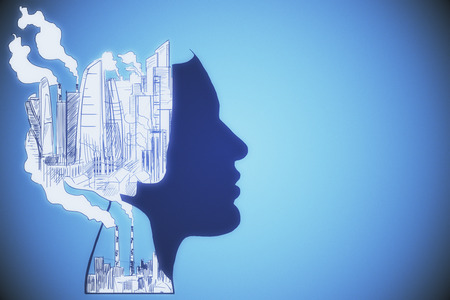 Abstract head outline with drawn city and smoke on blue background. Pollution concept