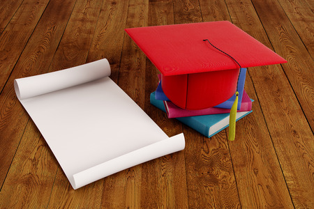 Mortarboard and empty paper scroll placed on wooden surface. Graduation ceremony concept. Mock up, 3D Rendering
