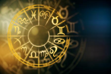 Zodial sign horoscope cirlce on dark background. Creative background. Future concept. 3D Rendering Archivio Fotografico