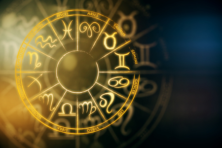 Zodial sign horoscope cirlce on dark background. Creative background. Future concept. 3D Rendering Standard-Bild