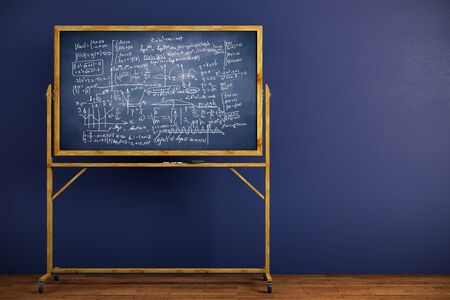 board: Chalkboard with mathematical formulas placed in interior with blue wall and wooden floor. Science concept. 3D Rendering Stock Photo
