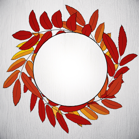 Abstract round autumn or fall foliage poster on concrete background. Copy space