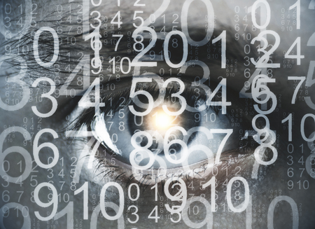numbers abstract: Close up of eye with digits. Biometrics concept. Double exposure Stock Photo