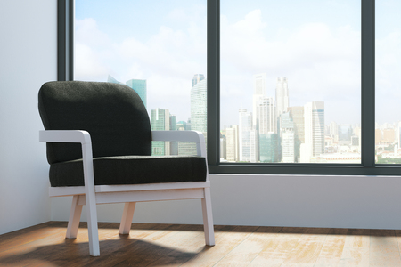 living room window: Contemporary living room interior with balck chair, wooden floor, concrete wall with city view and sunlight. 3D Rendering