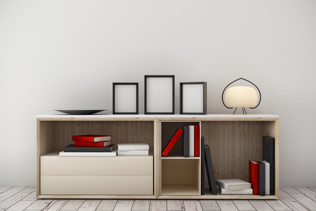 contemporary living room: Light room interior with items on cabinet and empty picture frames. White wall and wooden floor background. Decor concept. Mock up, 3D Rendering