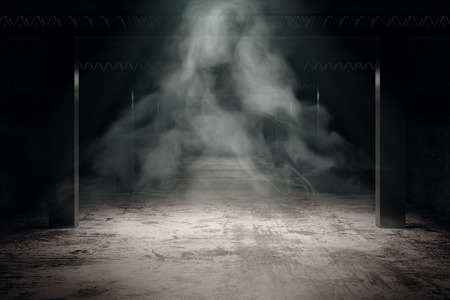Grungy dark gray interior with mist. Mistery concept. 3D Rendering Фото со стока - 85047566