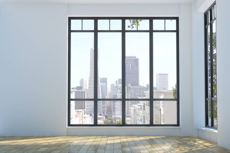 living room window: Modern unfurnished interior with wooden floor, concrete walls, city view and daylight. 3D Rendering