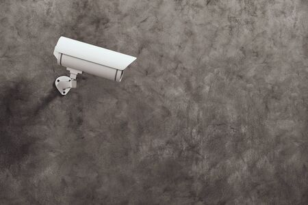 security monitor: White CCTV camera on concrete wall background with copyspace. Supervision concept. 3D Rendering