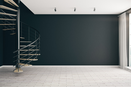 living room window: Modern interior with spiral staircase and empty black wall. Mock up, 3D Rendering