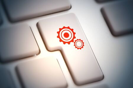 Close up of abstract keyboard button with cogwheel icon. Teamwork concept. 3D Rendering Stock Photo