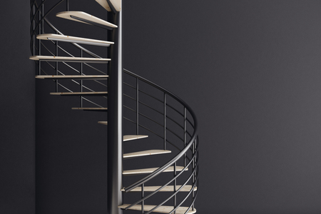 Close up of spiral staircase on black wall corner background. Growth concept. 3D Rendering