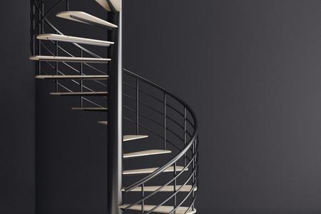 Schließen Sie oben vom Wendeltreppe auf schwarzem Wandeckehintergrund. Wachstumskonzept. 3D-Rendering
