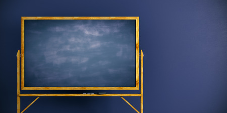 Close up of empty blackboard frame on blue wall background. Information concept. Mock up, 3D Rendering