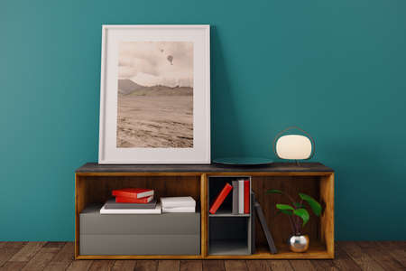 frame: Simple room interior with picture frame, books, lamp and other items on wooden cupboard. Blue wall background. Decor, decoration and design concept. 3D Rendering