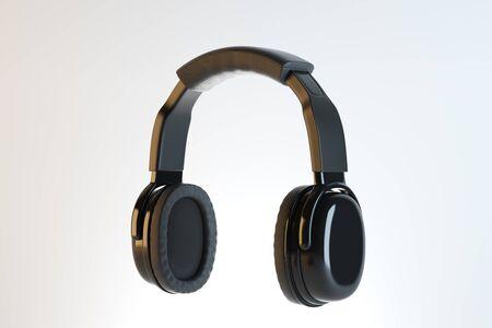 Black headphones or earphones on light background. Volume concept. 3D Rendering