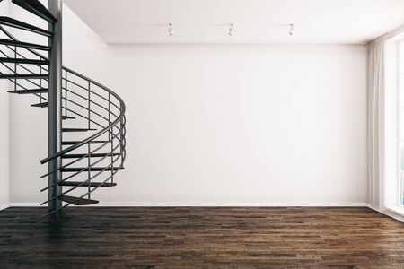Modern interior with spiral staircase and empty white wall. Mock up, 3D Rendering