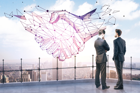 guy standing: Back view of two thoughtful businessmen on rooftop with abstract polygonal handshake and city view. Teamwork concept