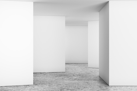 Modern light room interior with empty wall. Advert concept. Mock up, 3D Rendering