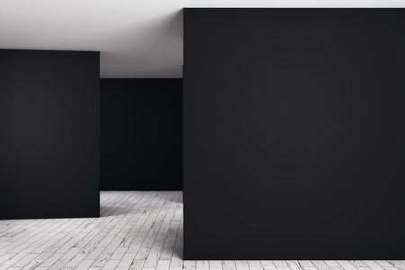 Unfurnished dark room interior with empty wall. Advert concept. Mock up, 3D Rendering