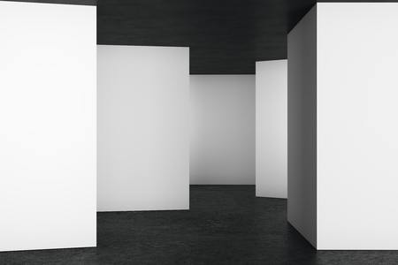 modern office: Clean light room interior with empty wall. Advert concept. Mock up, 3D Rendering Stock Photo