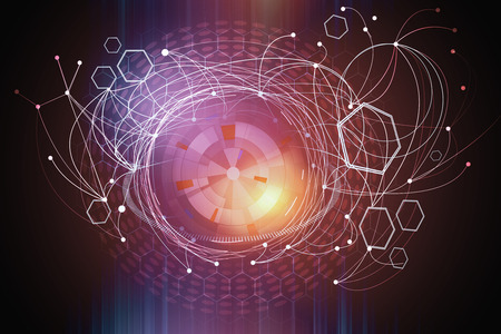 Abstrakter rosa digitaler Hintergrund. Technologie, Innovation und Zukunftskonzept. 3D-Rendering