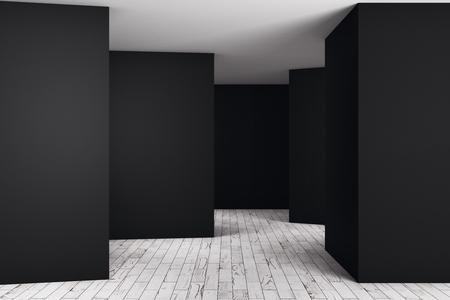 Modern dark room interior with empty wall. Advert concept. Mock up, 3D Rendering
