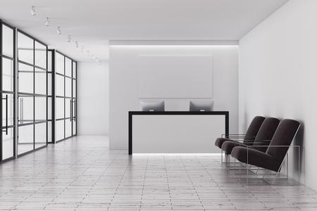 리셉션 데스크, 유리 벽 및 좌석 현대적인 사무실 인테리어. 3D 렌더링