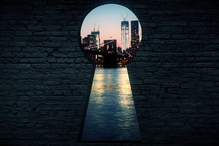 Abstract brick wall with keyhole opening and night city view. Entrance concept. 3D Rendering
