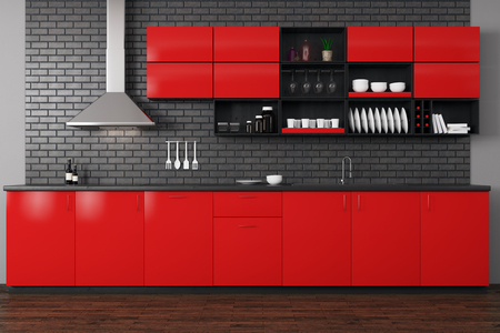 Front View Of Modern Red Kitchen Interior With Wooden Floor,.. Stock ...